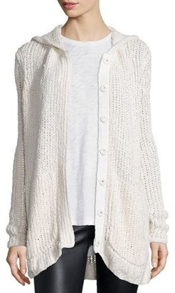 ATM Anthony Thomas Melillo Hooded Oversize Button-Front Cardigan Sweater, Cream $595 thestylecure.com