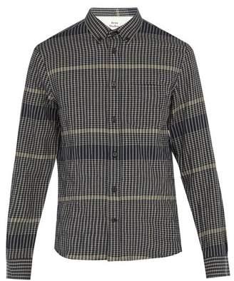 Acne Studios Checked Stretch Cotton Shirt - Mens - Navy
