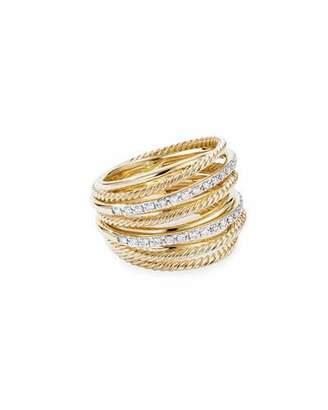 David Yurman DY Crossover Wide 18k Gold Ring w/ Diamonds, Size 7
