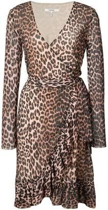 Ganni leopard print wrap dress