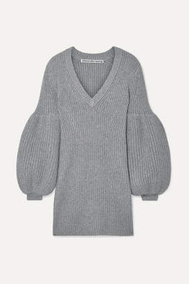 Alexander Wang Cable-knit Wool-blend Mini Dress - Gray