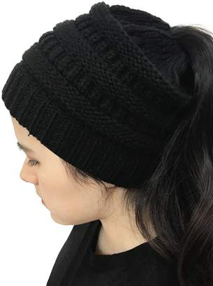 Choies Women's Black Chunky Knitted Beanie Hat