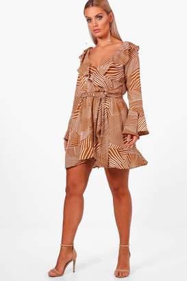 boohoo Plus Mix Stripe Bardot Woven Wrap Dress