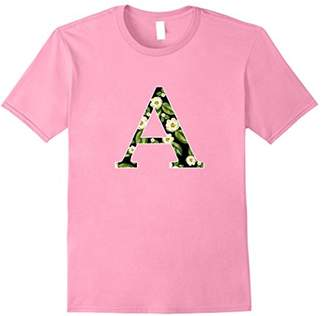 Floral Letter A Monogram Initial Letter A TShirt