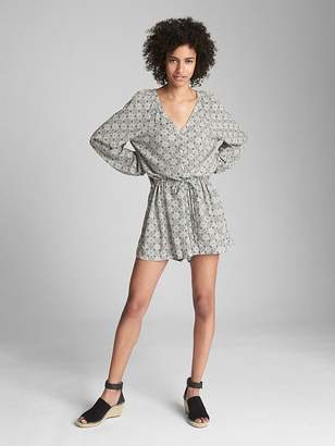 Gap Long Sleeve Button-Front Romper