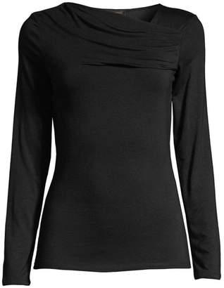 Donna Karan Draped Long-Sleeve Top
