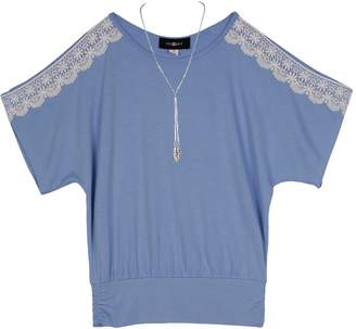 Amy Byer Iz Girls 7-16 & Plus Size IZ Crochet Sleeve Top with Necklace