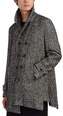 Comme des Garcons Men's Asymmetric Wool-Blend Tweed Peacoat