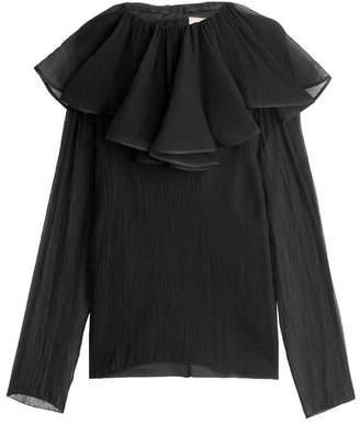 Nina Ricci Silk Crepe Blouse with Ruffled Collar