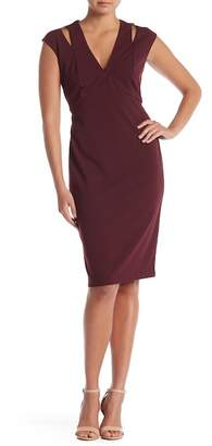 Connected Apparel Cap Sleeve Cutout Solid Dress