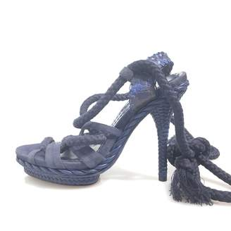 Christian Dior Navy Cloth Sandals