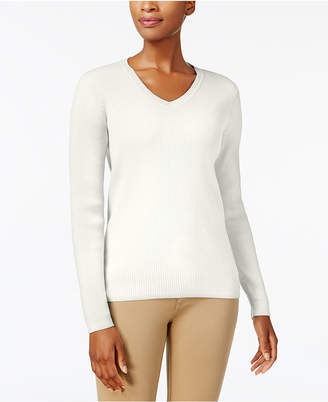 Karen Scott Cotton V-Neck Sweater, Created for Macy's