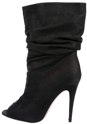 Manolo Blahnik Slouch Peep-Toe Ankle Boots