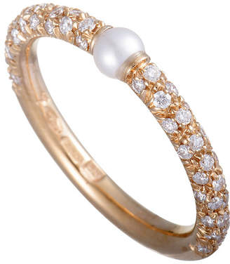 Mikimoto 18K Rose Gold 0.35 Ct. Tw. Diamond & 3Mm Akoya Pearl Ring