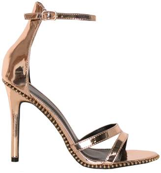 690a567b9804 Missy Empire Missyempire Shelby Rose Gold Patent Stud Heels