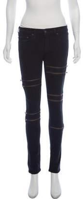 Rag & Bone Zipper-Accented Mid-Rise Skinny Jeans