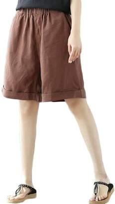 Sunfan Women's Casual Linen Comfy Bermuda Walking Shorts with Pockets