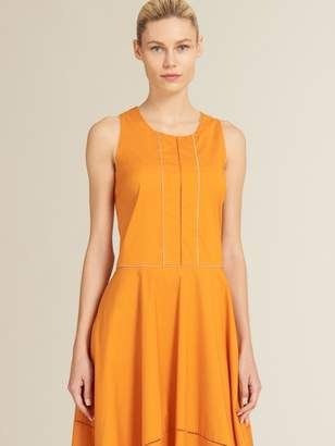 DKNY Poplin Crew Neck Trapeze Dress