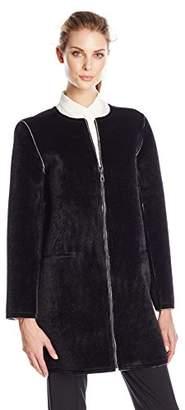 Eleven Paris Women's Faux Fur Collarless Coat $264 thestylecure.com