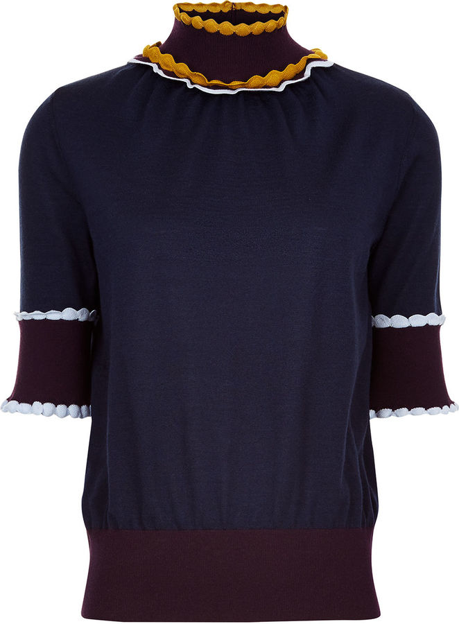 Roksanda Navy Wool Frill Ifield Top
