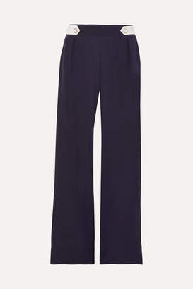 Mother of Pearl Net Sustain And Bbc Earth Bridget Faux Pearl-embellished Organic Silk Wide-leg Pants - Navy