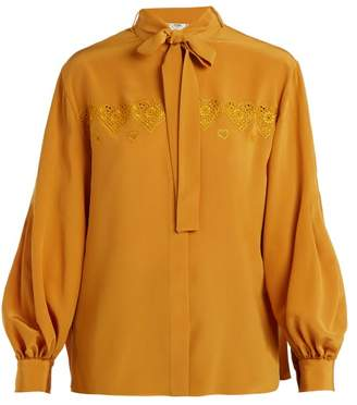 e3bd470a7ec894 Fendi Heart Embroidered Tie Neck Silk Shirt - Womens - Yellow