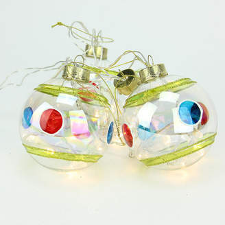 Asstd National Brand Set of 4 Battery Operated Stripe and Dot Glass Ball LED Lighted Christmas Ornaments