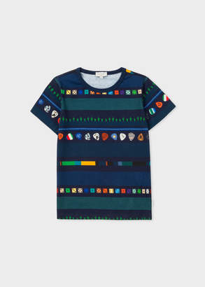 Paul Smith Boys' 8+ Years Navy 'Dice And Cactus' Stripe T-Shirt