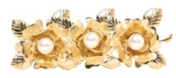 Gold Three-Rose Two-Finger Ring