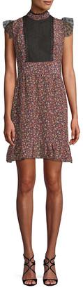 Anna Sui Woodland Flowers Mesh Yoke Mini Dress