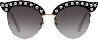 7034aaefd1f Gucci black Cat eye acetate sunglasses with pearls