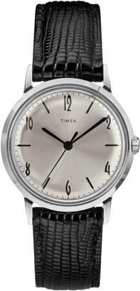 Timex R) Marlin Leather Strap Watch, 34mm