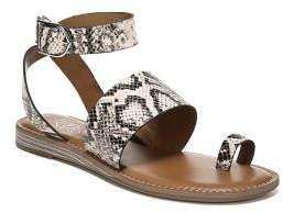 Franco Sarto Gracious Snakeskin-Print Toe Ring Leather Sandals