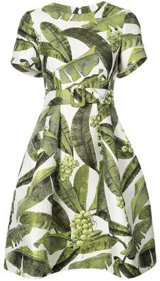 Oscar de la Renta leaf print dress