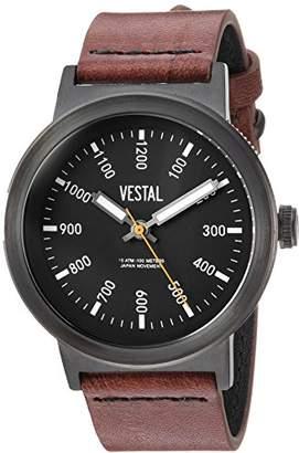 Vestal Men's 'Retrofocus' Quartz Stainless Steel and Leather Casual Watch