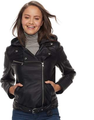 Juniors' Sebby Motorcycle Faux-Leather Jacket