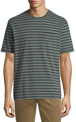Vince Men's Striped Crewneck Pocket T-Shirt