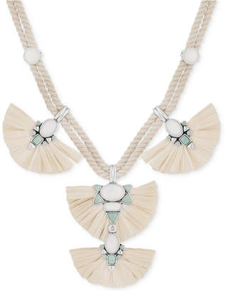 "Lucky Brand Silver-Tone Multi-Stone Raffia Braided Cord Statement Necklace, 17-1/2 + 2"" extender"