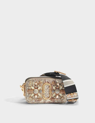 Marc Jacobs Snapshot Floral Brocade Crossbody Bag in Beige Polyester