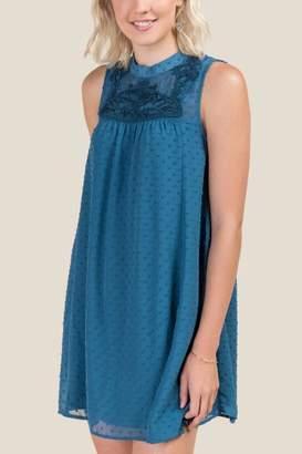 francesca's Kathleen Embroidered Shift Dress - Dark Teal