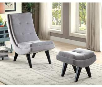 Furniture of America Carly Curved Accent Chair & Ottoman Set, Multiple Colors