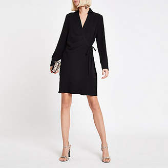 River Island Black wrap tie waist mini shirt dress