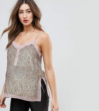 Asos TALL Sequin Cami Top with Sheer Insert