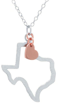 SILVER TREASURES Silver Treasures Texas State Womens Sterling Silver Pendant Necklace