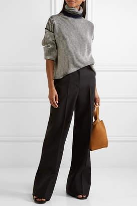 Theory Striped Cashmere Turtleneck Sweater - Black