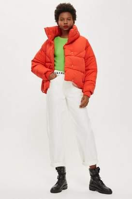 Topshop Petite Red Wrap Puffer Jacket