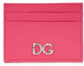 Dolce & Gabbana Fuchsia Crystal-embellished Leather Card Holder