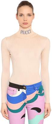 Emilio Pucci Logo Turtleneck Viscose Rib Knit Sweater