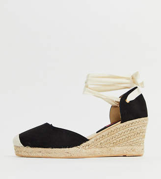 London Rebel wide fit espadrille wedges with ankle tie