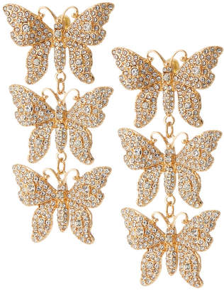 Natasha Accessories Limited Crystal 3-Tier Butterfly Earrings